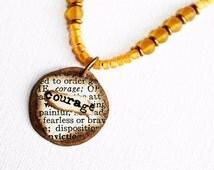 Courage Mixed Media Pendant Necklace Mixed Media Jewelry Orange Necklace Recycled Mixed Media Necklace Short Boho Pendant Hippie Necklace