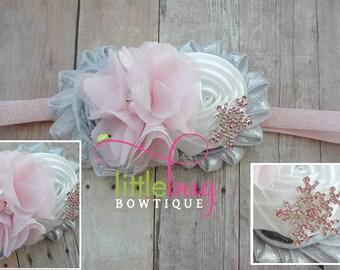 Christmas Headband, Snowflake Headband, Pink Headband, Silver Headband, Winter Headband,White Headband, Photo Prop - Girls, Newborns, Babies