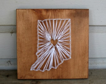 MADE TO ORDER Custom String Art Any State Sign -- Indiana Bicentennial Celebration wedding anniversary graduation personalized custom gift