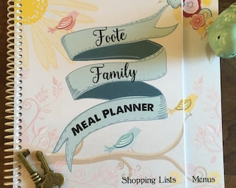 Meal Planner - Weekly Meal Planner - Meal Notebook - Shopping List - Spring - Birds