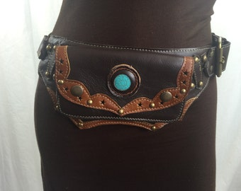 Dark brown Juniper leather beltbag