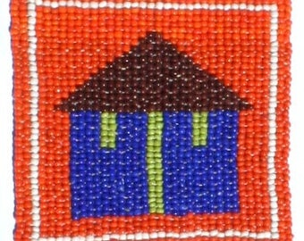 COASTER BEADED From Africa - Hand Crafted - Detailed African Hut  - Beautiful Details - Free Shipping - African Artwork