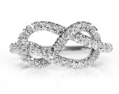 Infinity Knot engagement ring in 14K white gold, size 6.