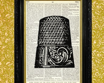 Thimble with Scrolls and Leaves Design, Dictionary Book Page Art Print, Sewing or Craft Room Decor, Recycled Upcycled Vintage Book Page Art