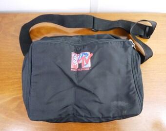 Vintage MTV Music Television Black Shoulder Bag Backpack Duffel With MTV Zippers
