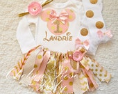 4 piece set, Pink and Gold Minnie Mouse tutu set, Minnie Mouse Birthday Outfit, Birthday tutu, Disneyland Outfit, 1st Birthday, Minnie tutu