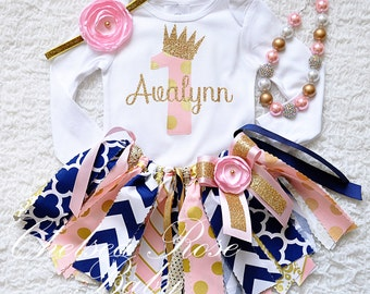 4 piece set~ Pink, Navy and Gold Fabric tutu outfit, pink and gold necklace, Pink and gold baby birthday outfit, first birthday tutu