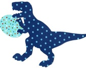 Iron on fabric applique dinosaur T rex with Easter egg DIY