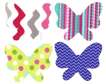 4 Butterfly Iron on appliques DIY