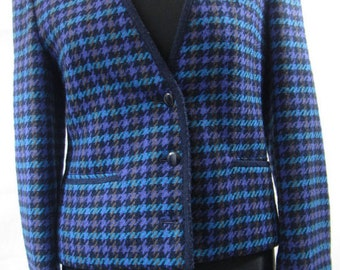 Purple and blue dogtooth wool jacket