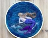 Needle felted mermaid hoop art