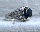 Stunning Platinum Diamond and Sapphire Engagement Ring - 3.70ct.