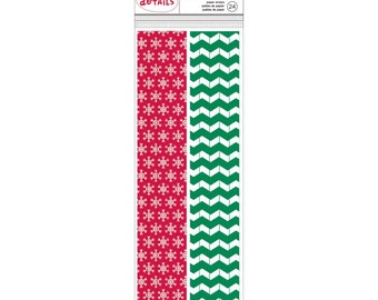 24 Red Snowflake and Green Chevron Paper Straws for Food Crafts, Party Packs, Birthdays, Cake Pops Sticks