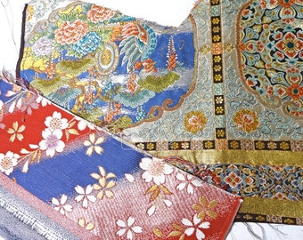 2pc Vintage Metallic OBI KIMONO Fabric scrap