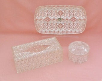 1950's 3 piece dresser set, imitation cut glass dresser tray, tissue box, and powder box made by Trelawney, vintage vanity set