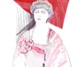 Fashion illustration queen Mary preciously decorated portrait ink red watercolors