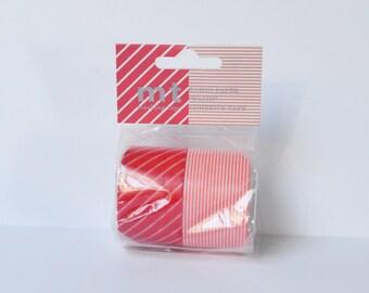Christmas Washi Tape MT Masking Tape 2 Rolls Red Pink Stripes Large Rolls Wide Tape