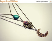 FALL SALE hamsa layer necklace, moon layer necklace, pink opal layer necklace, turquoise layer necklace, triple necklace