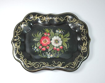 Antique Painted Floral Tray Small Signed