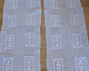 pair of long crochet lace door curtains French country decor