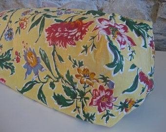French round bolster pillow cover in yellow floral print cotton
