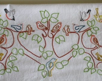White cotton sheet with hand embroidered birds vintage French bedding