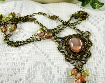 Necklace, Pendant Necklace, Peach Necklace, Peach Sorbet, Pendant, Light Peach, Antiqued Brass, Beaded