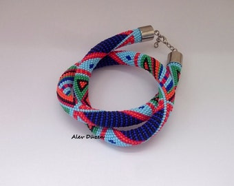Bead Crochet Necklace - Handmade Beaded Necklace - Aztec Colors Handmade Beadwork Necklace -  Bead
