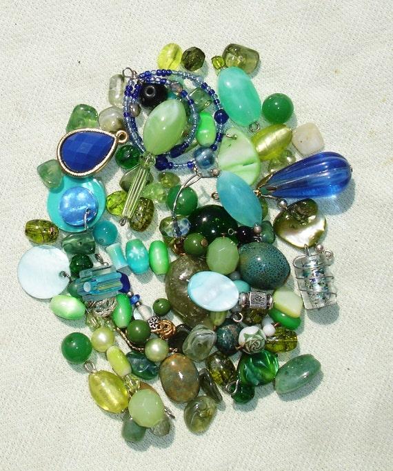 blue green glass gemstone acrylic bead lot jewelry