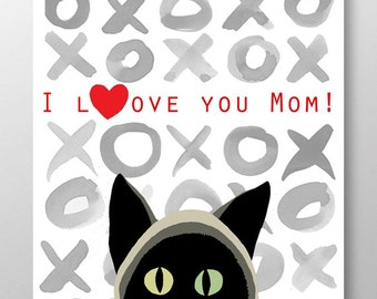 I love you Mom! print, Mixed media Decorative art, Animal painting, drawing, illustration, portrait,Mothers day print, POSTER 8x10