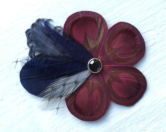 SOPHIE Red Wine Burgundy, Navy Blue, Grey, Gun Metal Feather Flower Hair Clip, Fascinator