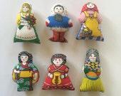 Set of 6 Vintage Women Around the World Dolls