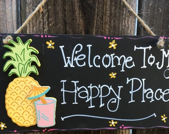 PINA colada WELCOME TO My Happy Place Sign Beach Decor Wood Tiki Bar Home