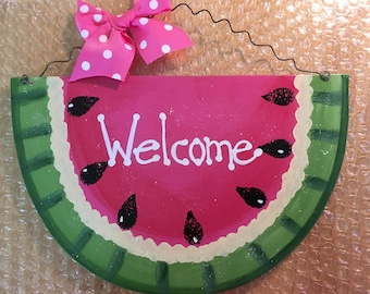 WELCOME WATERMELON Sign summer country wood crafts Decoration porch door mesh wreath accent pink