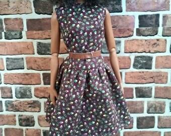 Drop Waist Shift Dress w/ Belt for Barbie or similar fashion doll
