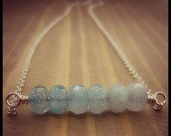 Aquamarine Necklace - Bar Necklace - Minimalist Necklace - Ombre Necklace - Brazilian Aquamarine - Layer Necklace