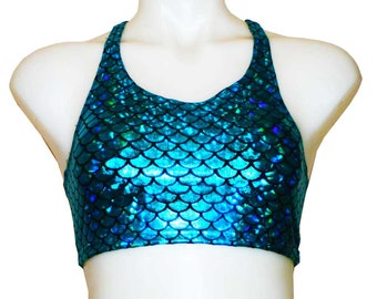 Crop top in Aqua/Blue Mermaid Print Spandex! Great for Festivals, Clubwear, Swimwear, Polewear, Yoga, Rave and dancewear