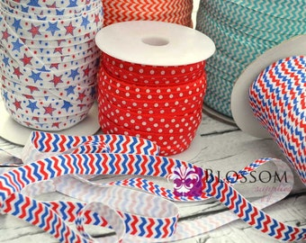 CLEARANCE 2 or 5 Yard Increments - PATRIOTIC 5/8 Inch Printed Fold Over Elastic - foe - Wholesale Supplies 4th Of July Red White Blue