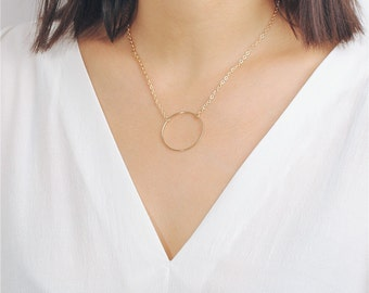 Delicate simple everyday large open circle necklace