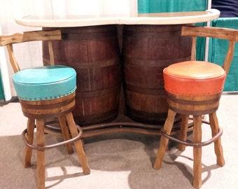 SALE Vintage Whiskey Barrel Bar - Vintage Barrel Bar, Vintage Mid Century Furniture, Bar & Swivel Bar Stools, Retro Western Saloon Decor