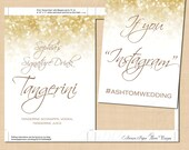 White Gold Sparkles Text-Editable Signature Cocktail, Instagram Wedding Signs: 5 x 7 - Works with Word - Printable Instant Download