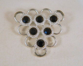 Silver and Black Triangle Sarah Coventery Pin / Vintage 1970s Brooch / Geometric Sarah Cov Pin