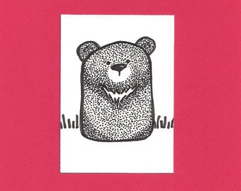 ACEO,  ATC, Bear, Original, Art Trading Card, Hand Drawn, Kid Friendly, Black and White