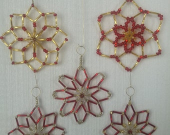 Ornaments - sun catchers - window decor -  Red and Gold Set of 5