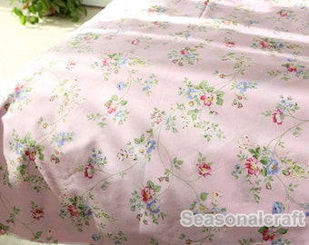 Pink Fabric Flower Fabric,Shabby Chic Flower Fabric,Floral width 92 inch 235cmCotton Fabric 1/2 Yard(QT777)