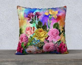 Multi Coloured Spring Flowers Velveteen Cushion Cover