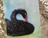 Folded Art Card/Greeting Card/Swan Card/Swan Art/Black Swan/Black Swan/Bird Card/Bird Art/Swan Note Card/Swan Gift Card/FREE SHIPPING