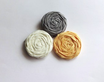 Ivory, Yellow and Gray Fabric Rosettes Embellishment