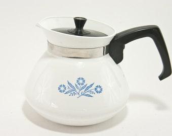 Vintage Corning Ware Teapot, Blue Cornflower Teapot, Vintage Kitchen, 6 Cup Tea Pot