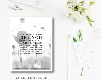 Set of 20 | Colette Brunch | Floral Party Invitation | Bridal | Baby | Birthday | Printed or Printable by Darby Cards